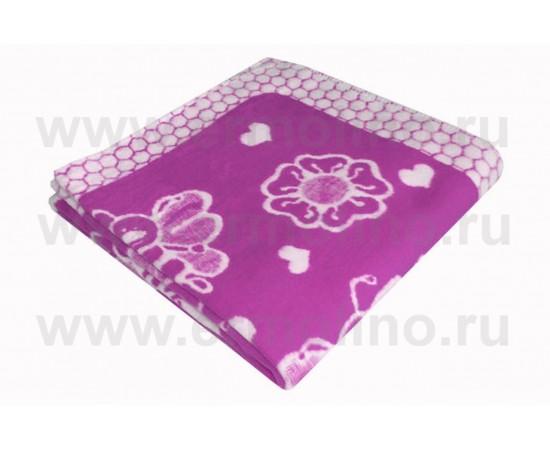 Одеяло детское Байковое 100х140 см для новорожденных Сиреневое Ермолино
