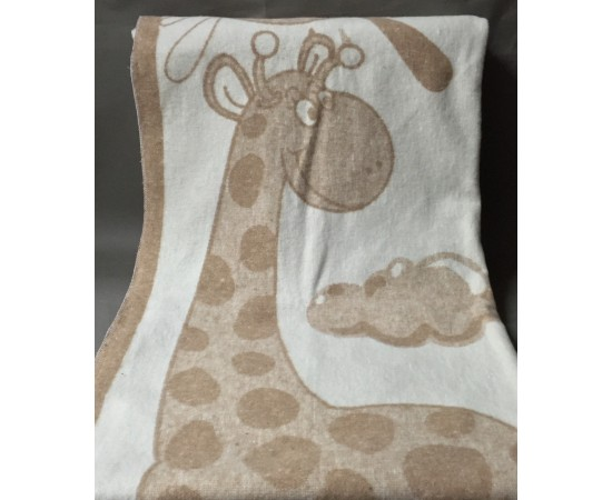 Одеяло маленькое Жираф 100% х/б 100х140 бело-бежевое