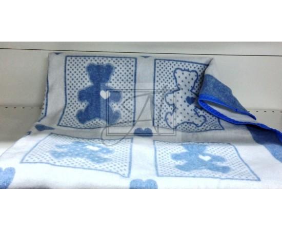 Одеяло маленькое Барни 100% х/б 100х140 бело-голубое