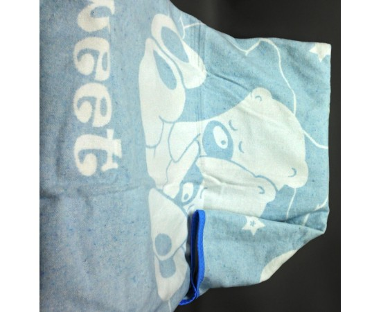 Одеяло маленькое Сони 100% х/б 100х140 бело-голубое