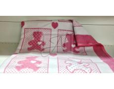 "Одеяло маленькое ""Барни"" 100% х/б 100х140 бело-розовое"