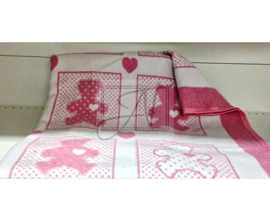 Одеяло маленькое Барни 100% х/б 100х140 бело-розовое
