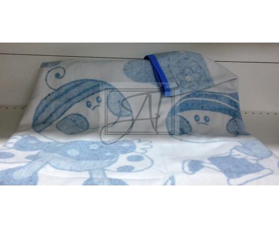 Одеяло байковое детское  Букашка размер 100х140 бело-голубое