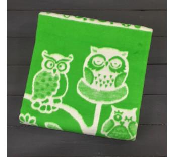 Зеленое Совушки 57-8ЕТЖ 100х140 100% х/б Байковое жак Ермолино одеяло
