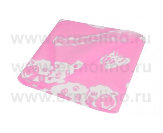 Детское байковое жаккардовое одеяло размер 100х140 100% хлопок Ермолино Розовое
