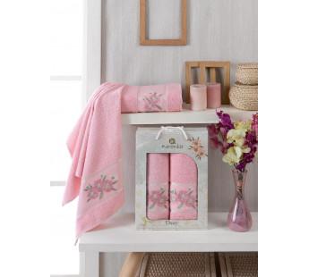 10187 Розовый DAISY GOLD (50х90+70х140 ) в коробке Набор полотенец MERZUKA