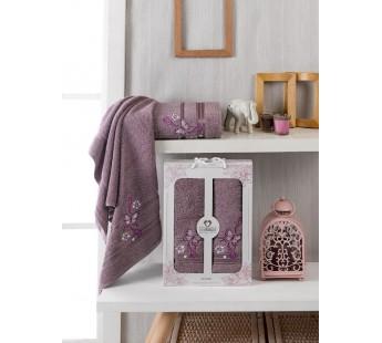 10156 Баклажан ALMIRA махра (50х90+70х140 ) Набор полотенец в коробке TWO DOLPHINS