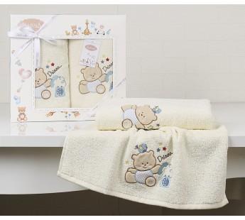 """Комплект полотенец """"KARNA"""" детский BAMBINO-BEAR 50x70-70х120 см Кремовый"""