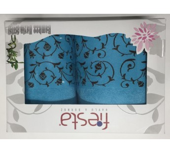 Бирюза Classik Бамбук ( 50х90+70х130 ) в коробке Набор полотенец Фиеста