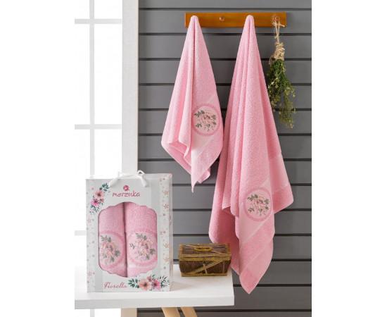 10167 Розовый FIORELLA махра ( 50х90+70х140) в коробке Набор полотенец MERZUKA