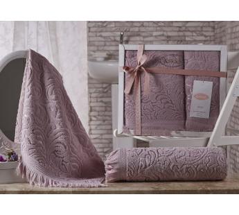 """Комплект махровых полотенец """"KARNA"""" ESRA 50x90-70х140 см v4 Грязно-розовый"""