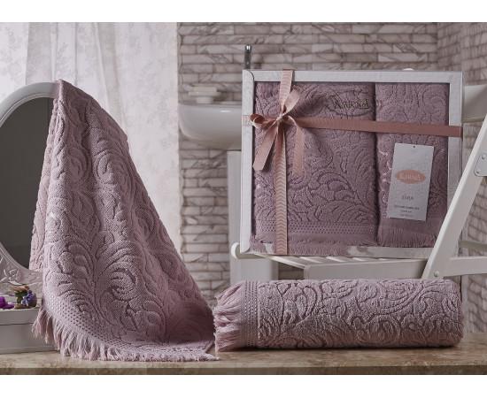 Комплект махровых полотенец KARNA ESRA 50x90-70х140 см v4 Грязно-розовый