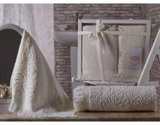 """Комплект махровых полотенец """"KARNA"""" ESRA 50x90-70х140 см v1 Кремовый"""
