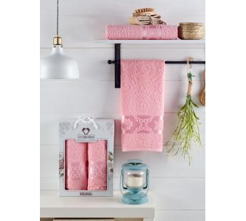 10701 Розовый MELISSA (50х90+70х140 ) Набор полотенец в коробке TWO DOLPHINS