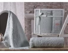 """Комплект махровых полотенец """"KARNA"""" ESRA 50x90-70х140 см v3 Светло-зеленый"""