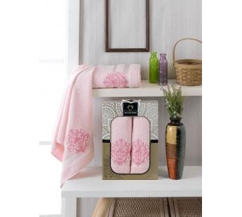 10158 Светло-розовый ELISA махра (50х90+70х140 ) Набор полотенец в коробке TWO DOLPHINS