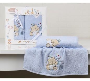 "Комплект полотенец ""KARNA"" детский BAMBINO-BEAR 50x70-70х120 см Голубой"