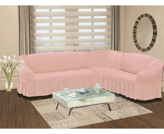 Чехол на диван угловой правосторонний BULSAN 2+3 посадочных мест Светло-розовый