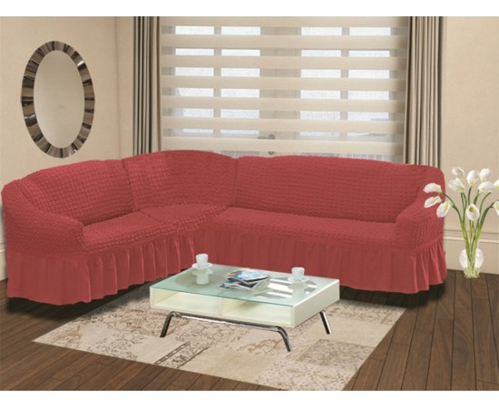 Чехол на диван угловой левосторонний BULSAN 2+3 посадочных мест Грязно-розовый