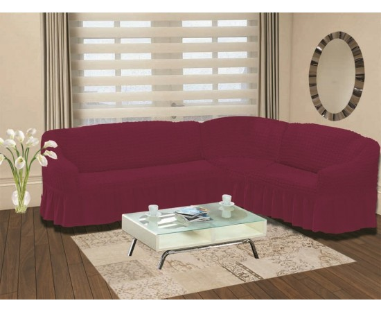 Чехол на диван угловой правосторонний BULSAN 2+3 посадочных мест Светло-лаванда