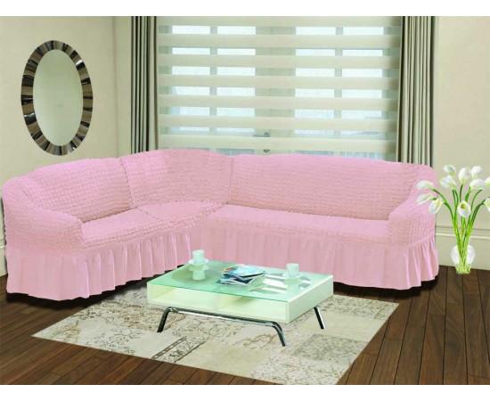 Чехол на диван угловой левосторонний BULSAN 2+3 посадочных мест Светло-розовый