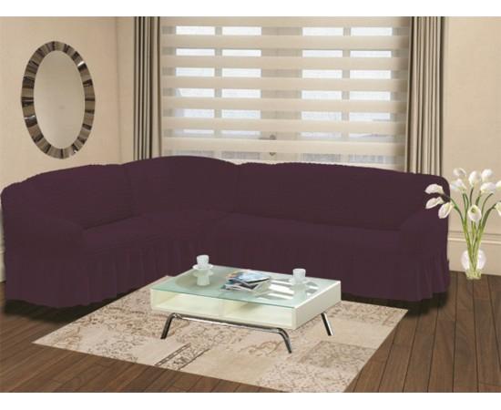 Чехол на диван угловой левосторонний BULSAN 2+3 посадочных мест Фиолетовый