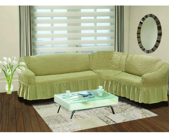 Чехол на диван угловой правосторонний BULSAN 2+3 посадочных мест Бежевый