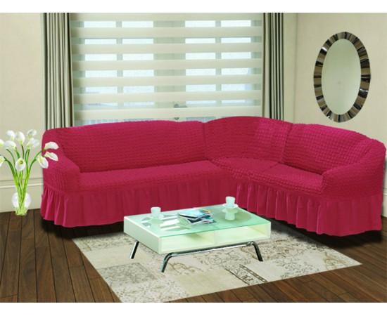 Чехол на диван угловой правосторонний BULSAN 2+3 посадочных мест Грязно-розовый