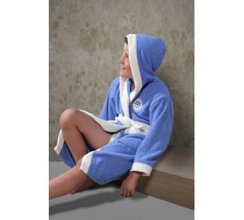 """Халат детский махровый """"KARNA"""" с капюшоном SILVER (Голубой)"""