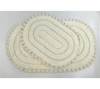 """Набор ковриков для ванной """"MODALIN"""" кружевной YANA 60x100 + 50x70 см 1/2 Кремовый"""