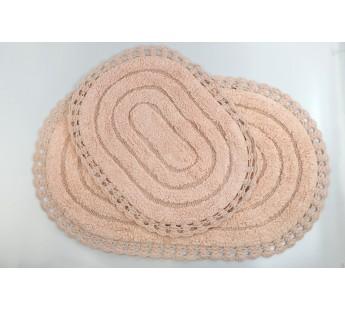 "Набор ковриков для ванной ""MODALIN"" кружевной YANA 60x100 + 50x70 см 1/2 Пудра"