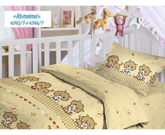 Котята КПБ детский Облачко бязь простыня на резинке 4545/1+4546/1 код 174245