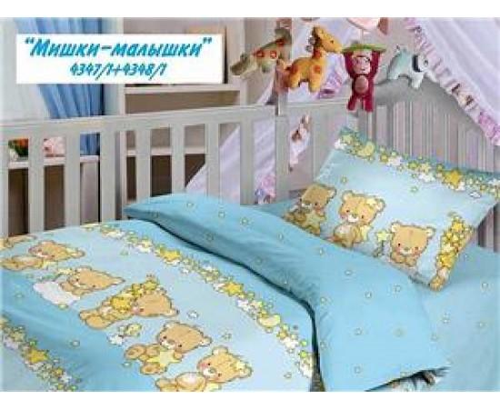 Мишки малышки КПБ детский Облачко бязь простыня на резинке 4347/1+4348/1 код 106511