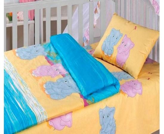 Слоники КПБ детский Облачко бязь простыня на резинке 4054/1+4055/1 код 186925