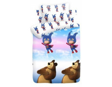 """Маша супергерой вид 1 """"Маша и медведь"""" КПБ детский бязь рис. 8700+8701 вид 1 314913"""