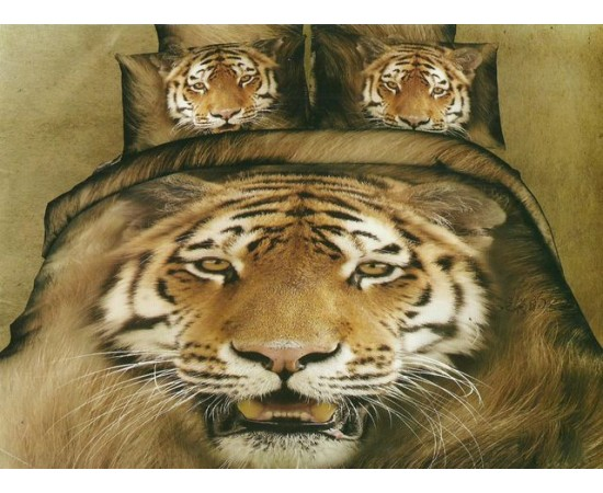 КПБ семейный KAZANOV.A сатин Тигр ( кофейный )