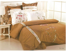Постельное белье сатин с вышивкой D-118 КПБ евро Сайлид