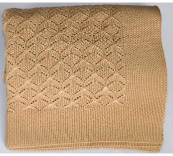Плед вязаный Елочка (соломенный) 150x200 Вальтери Шерсть