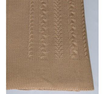 Плед вязаный Коса (верблюжий) 150x200 Вальтери Шерсть