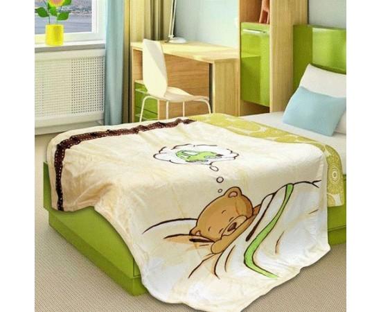 ZA FN 03BE Мишка в кроватке 110х140 фланель плед дет. Buenas Noches
