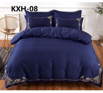 kxh6 синий однотонный КПБ евро сатин люкс Retrouyt